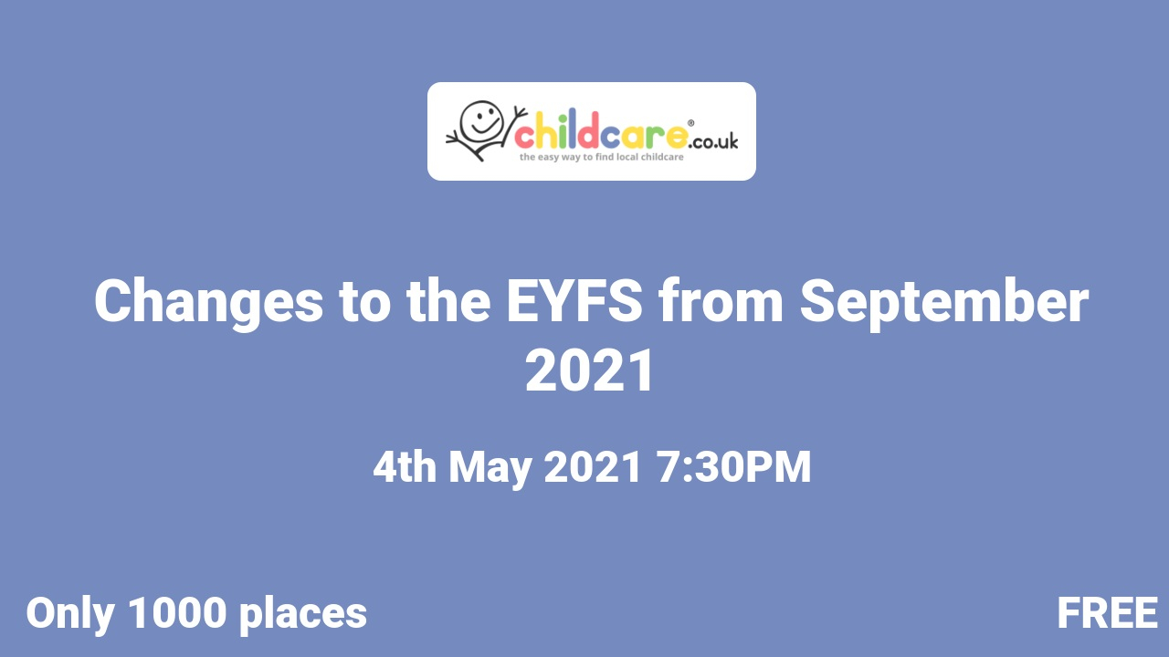 Changes to the EYFS from September 2021 poster